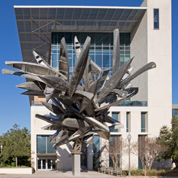 50-foot-tall Nancy Rubins sculpture entitled Monochrome for Austin