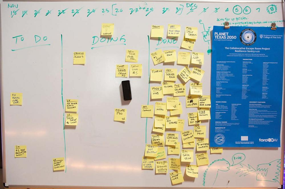 Post-its on a white board helped keep the teams keep track of tasks and progress on different components of the escape room.