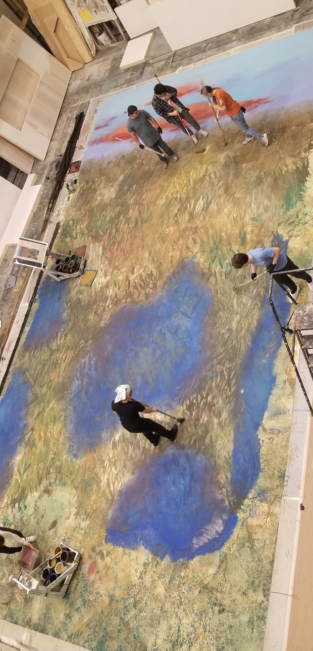 Scenic Art Students, working on 36' tall backdrop for a UTNT production of Bog Butter, designed by Stephanie Fisher.