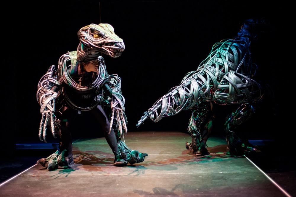 An image of two dancers on a darkened stage, wearing raptor costumes, with one facing forward and the other turned around to expose the tail
