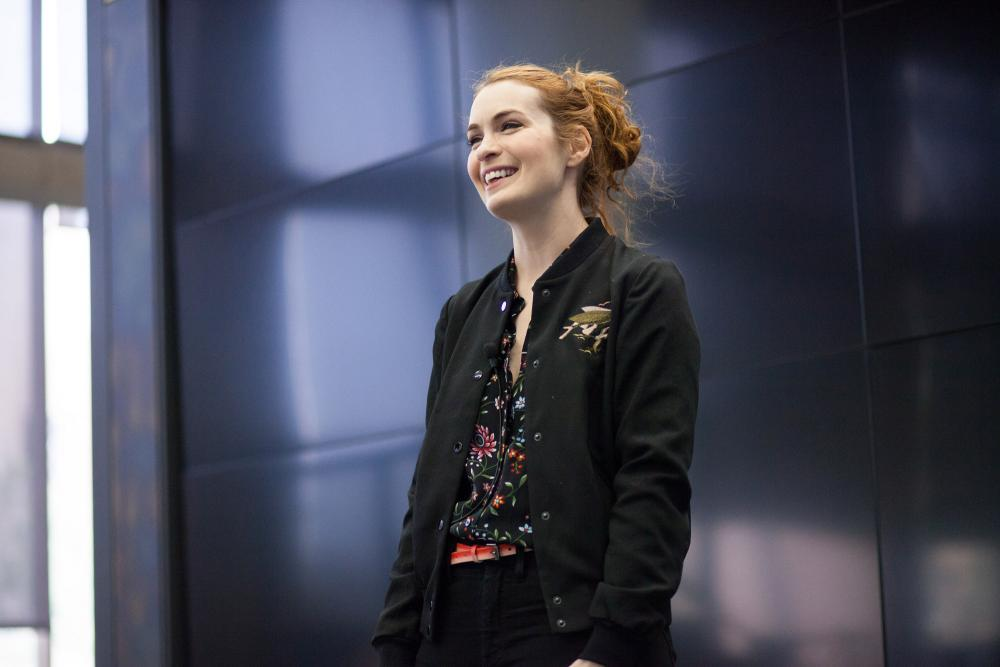 Felicia Day speaking in the Fine Arts library