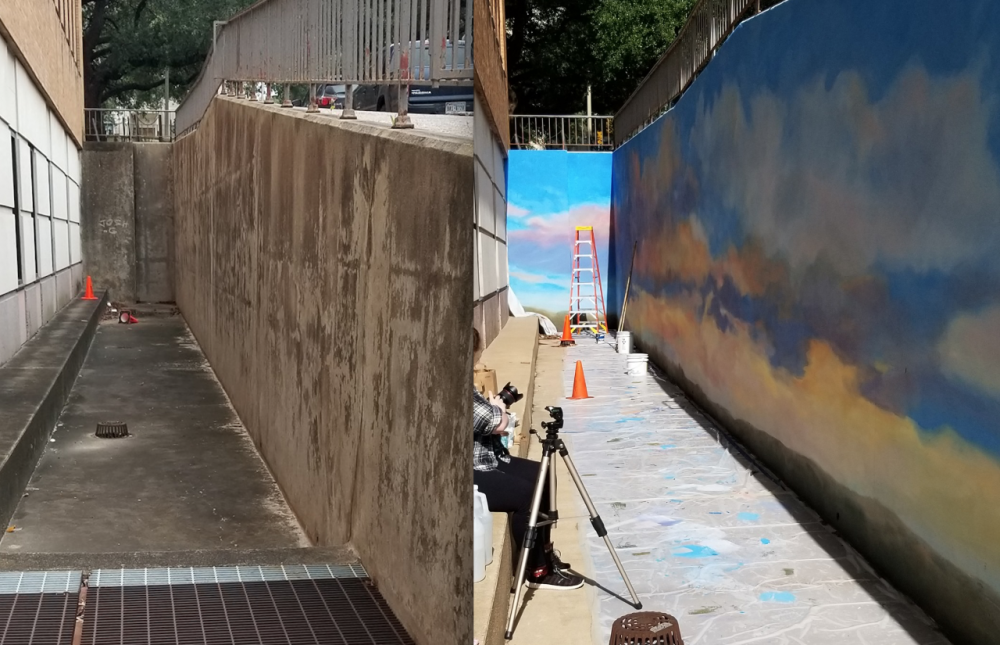 Side-by-side comparison of the wall before and after the mural was painted.