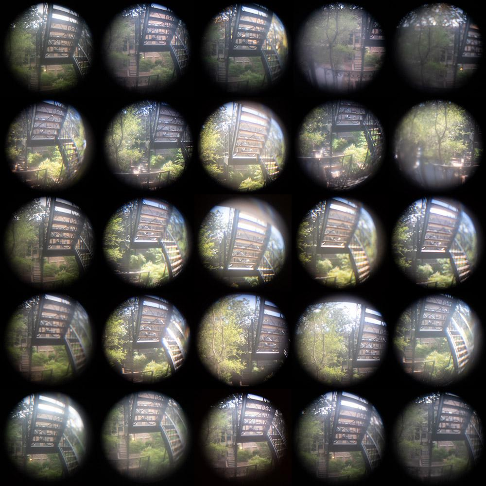 A grid of images of a view through an apartment door peephole