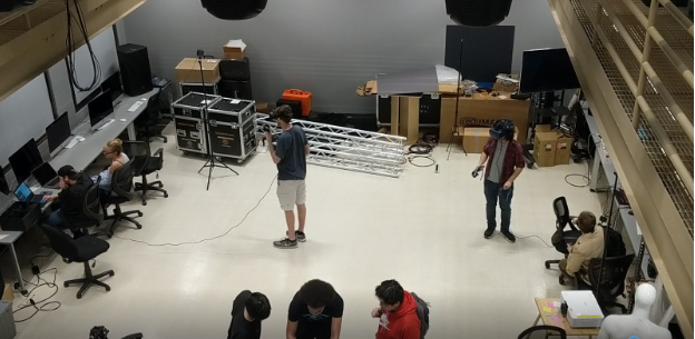 Students working on VR