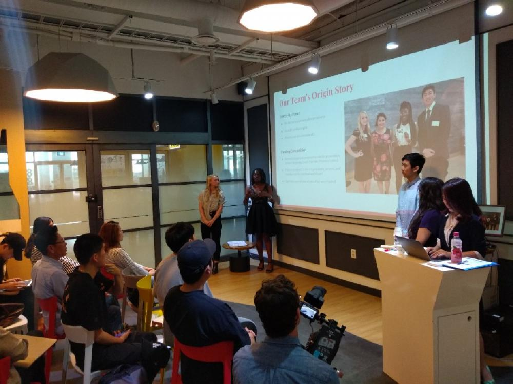 The President's Award for Global Learning team members present the research they did in the spring semester at UT to their student counterparts at Chung-Ang University.