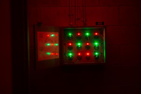 The lights make up one puzzle that participants must solve to get closer to completing their mission in the escape room.