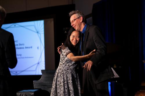 Jazz Musician Helen Sung with Professor Jeff Hellmer