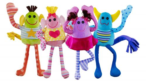 a group of colorful, plush toy monsters