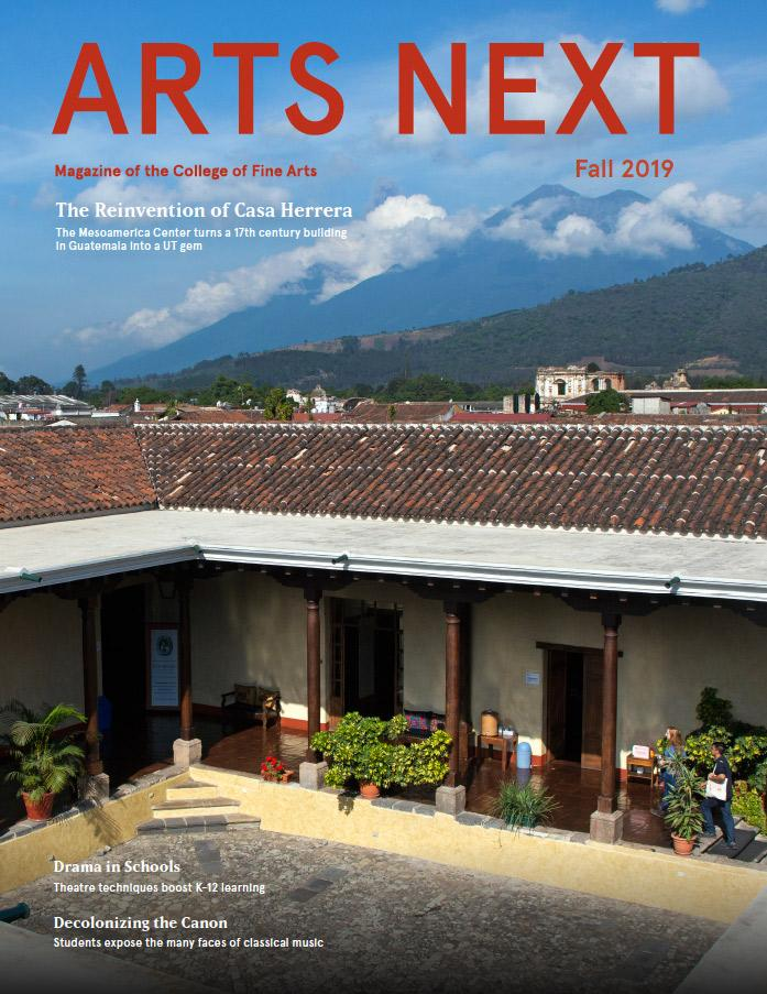 The cover of the Arts Next magazine with an image of Casa Herrera courtyard