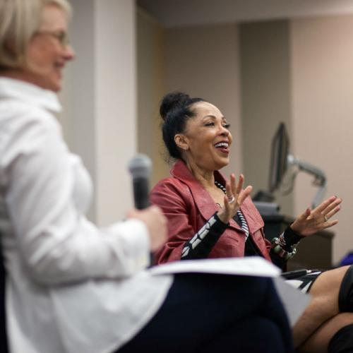 Debra Martin Chase speaks to students in an Arts Management and Administration class. Photo by Lawrence Peart.