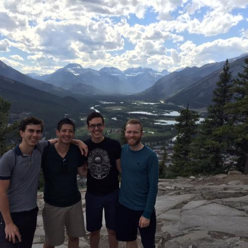 Cordova Quartet members during a hike in Banff, Canada.