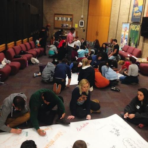 Students collaboratively define What is arts integration...through words, symbols and images in the Graffiti Dialogue activity. Photos by Heidi Powell.