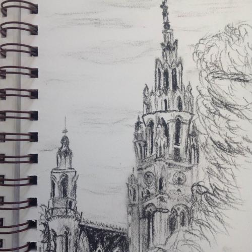 Drawing from Kate Ducey's travel journal.