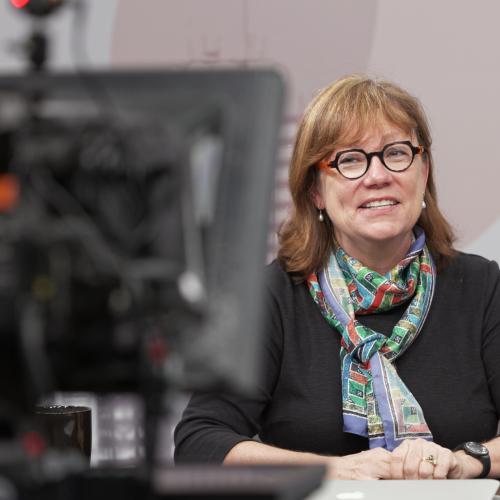 Senior Lecturer Ann Johns records the course trailer for her online class, Survey of Renaissance Through (Post) Modern Art.