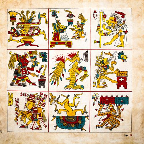 an image of a hand-painted replica of a Codex Borgia tile