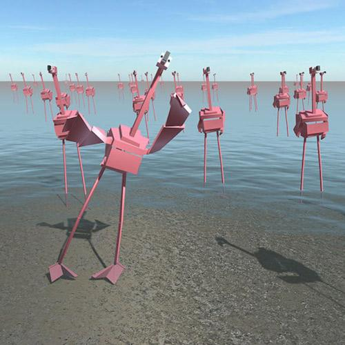 digital flamingos