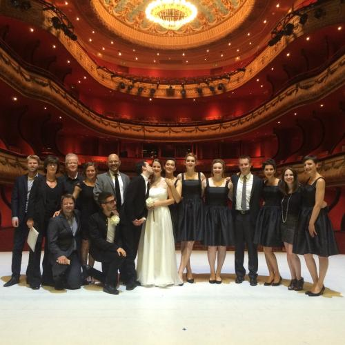 Cast photo in Theatre Jeu De Paume at the opera festival in Aix En Provence. Kate Ducey is second from the right, and Sven Ortel is third from left kneeling on the floor.