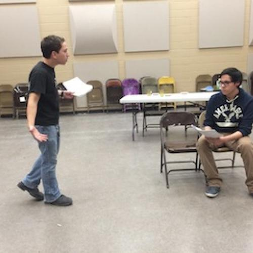Alex Castello and Luis Castello rehearse of Sangre de un Àngel by Roxanne Schroeder-Arce, directed by Oscar Franco at Edinburg North High School. Photo by Oscar Franco.