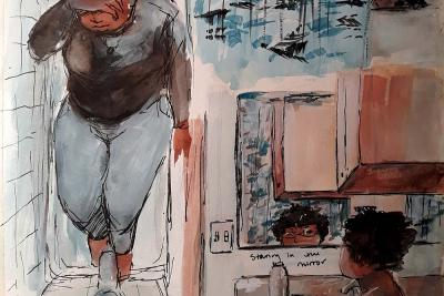 A drawing of a student fully clothed in her bathtub