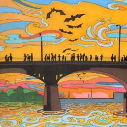 coloring book Austin bat bridge scene