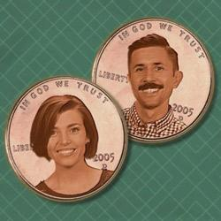 """an illustration with two headshots of the hosts for PBS show, """"Two Cents"""""""