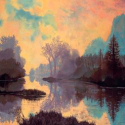 Kathryn St. Clair's artwork, depicting a nature scene including a stream with trees and mountains. The colors are soft yellows, purples, grays, blues and pinks