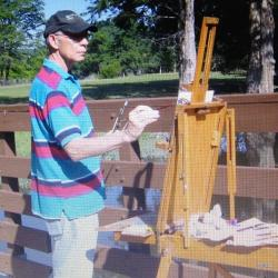 Michael Gillespie paints outdoors
