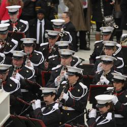 Members of the US Marine Corps Band perform during the 2017 presidential inauguration