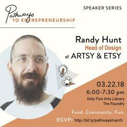 an advertisement with Randy Hunt's face and the date and time of the event
