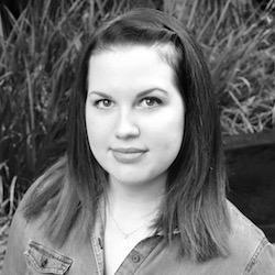A black and white portrait of Lauren Cunningham