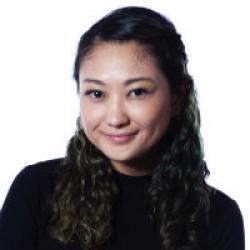 A black and white photo of Misa Yamamoto