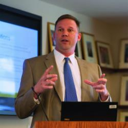 "Keynote address ""Assessing Teacher Education Programs in the Fine Arts."" by Dr. Tim Miller. Photo by Sandy Carson."
