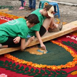 student work on an alfombra