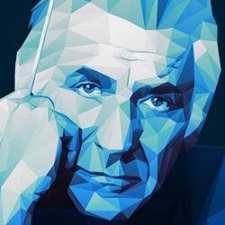 blue art work of Leonard Bernstein