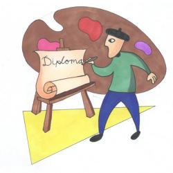 illustration of a painter at an easel