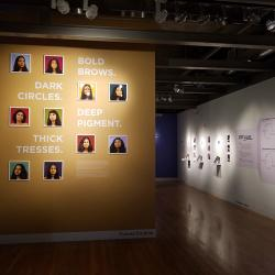 """an image of the Senior Design Exhibition that features a yellow wall with pictures of women, with the words """"bold brows"""" """"deep pigment"""" """"dark circles"""" and """"thick tresses"""""""