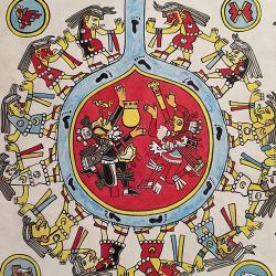 An image of a replica of the Codex Borgia, a series of colorful illustrations that show people's relationship with religion, the environment, and people and animals