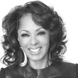 A black and white image of Debra Martin Chase, hollywood producer