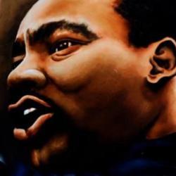 An artist's painting of MLK JR