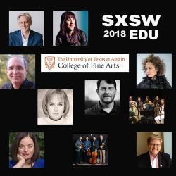 sxsw graphic with faculty headshots and sxsw edu 2018