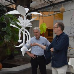 Dean Doug Dempster visits with Thomas Glassford in Glassford's studio in Mexico City. Photo by Alicia Dietrich.