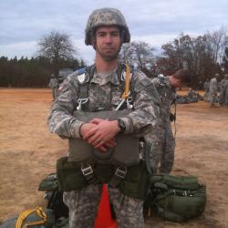 Bart Pitchford stands wearing an Army uniform.