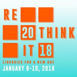"a logo design for the UT Libraries conference. The design is light blue with orange squares and the words, ""Rethink It 2018"""