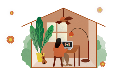Illustration of a student working at home on a laptop.