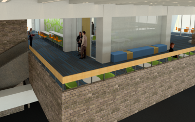 Design rendering of fourth floor balcony in the Fine Arts Library.