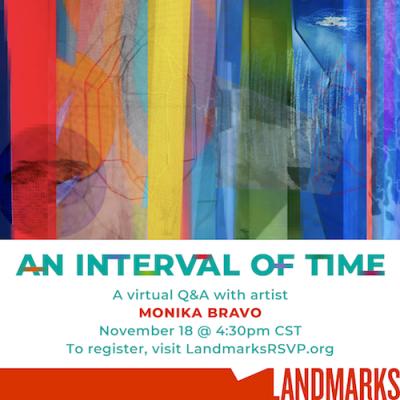 Event flyer for Monika Bravo virtual talk on November 18, 2020