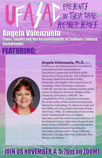 Flyer for Angela Valenzuela Lecture