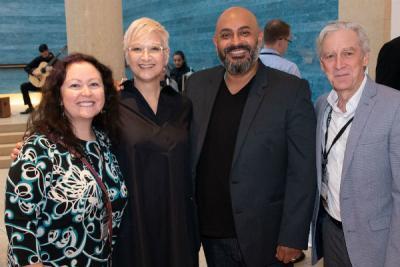 Roxanne Schroeder-Arce, Robert Ramirez, Dean Doug Dempster at the Blanton Museum for a reception