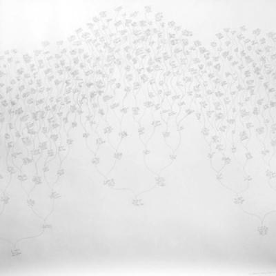 Beth Campbell artwork, white with light gray delicate shapes