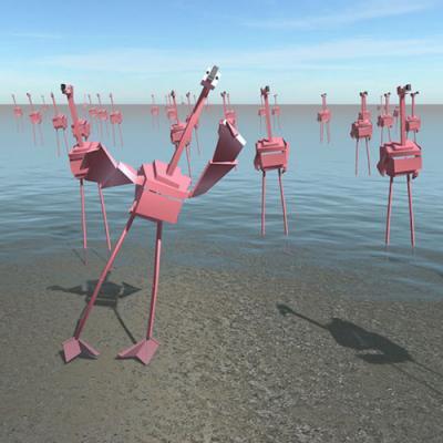 digital flamingos